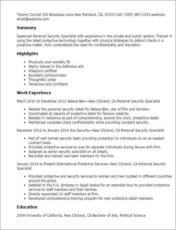 Personnel Security Specialist Resume Sample Professional Personnel Security Specialist Templates to