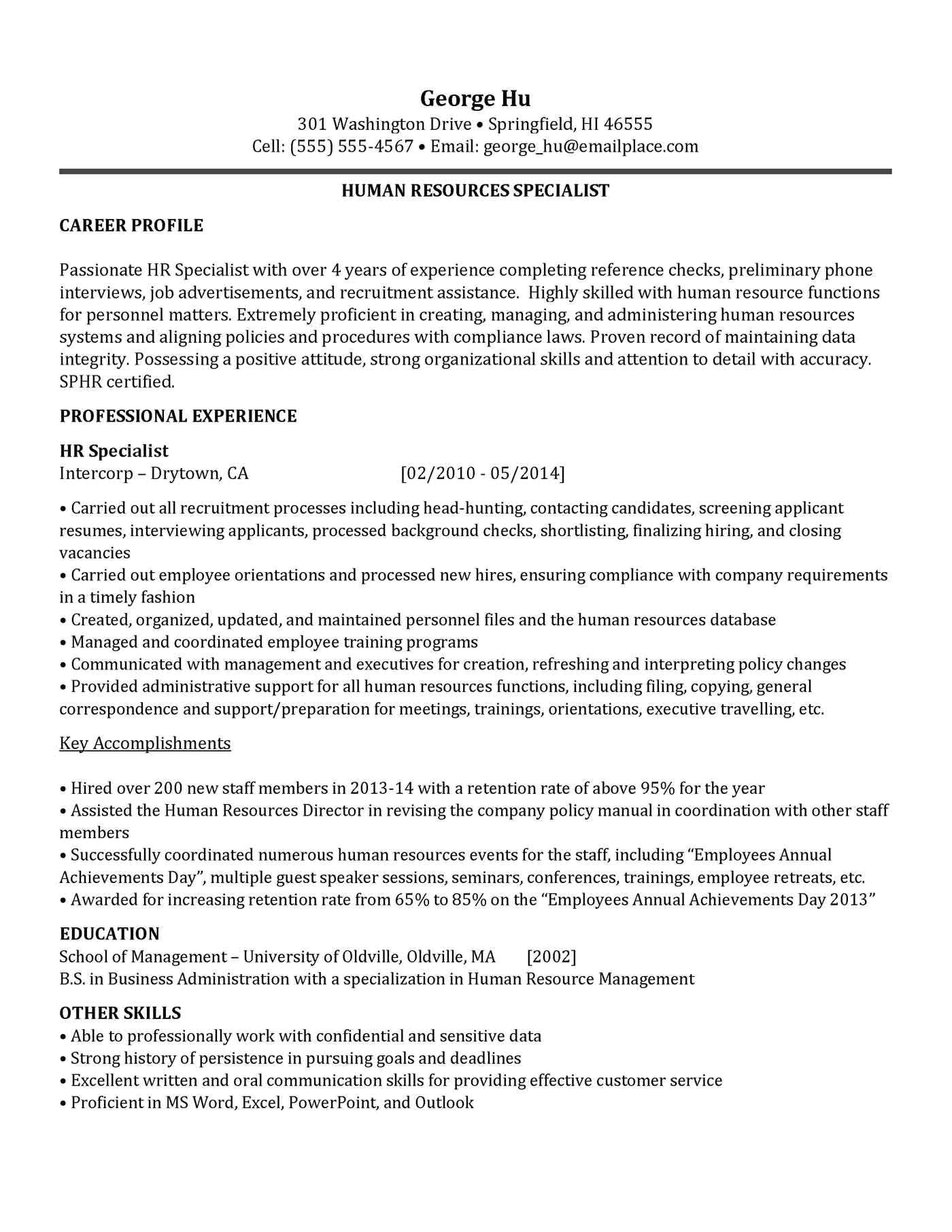 security specialist resume sample