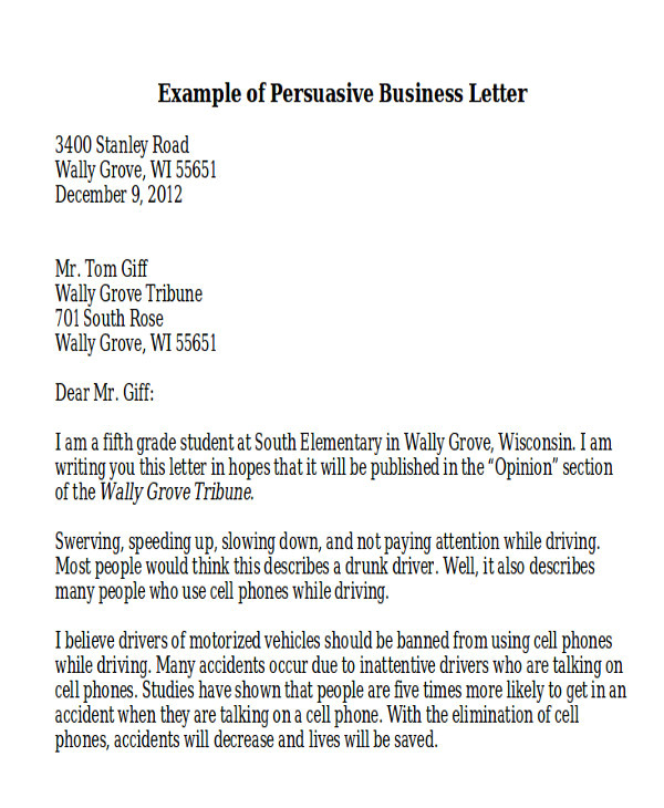persuasive business letter