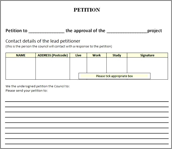 Petition Sign Up Sheet Template 6 Free Petition Template Sampletemplatess