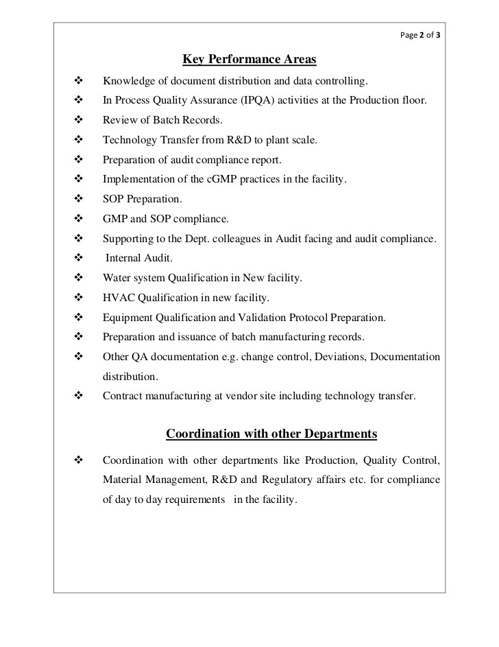 Pharmaceutical Quality Control Resume Sample Resume Sm