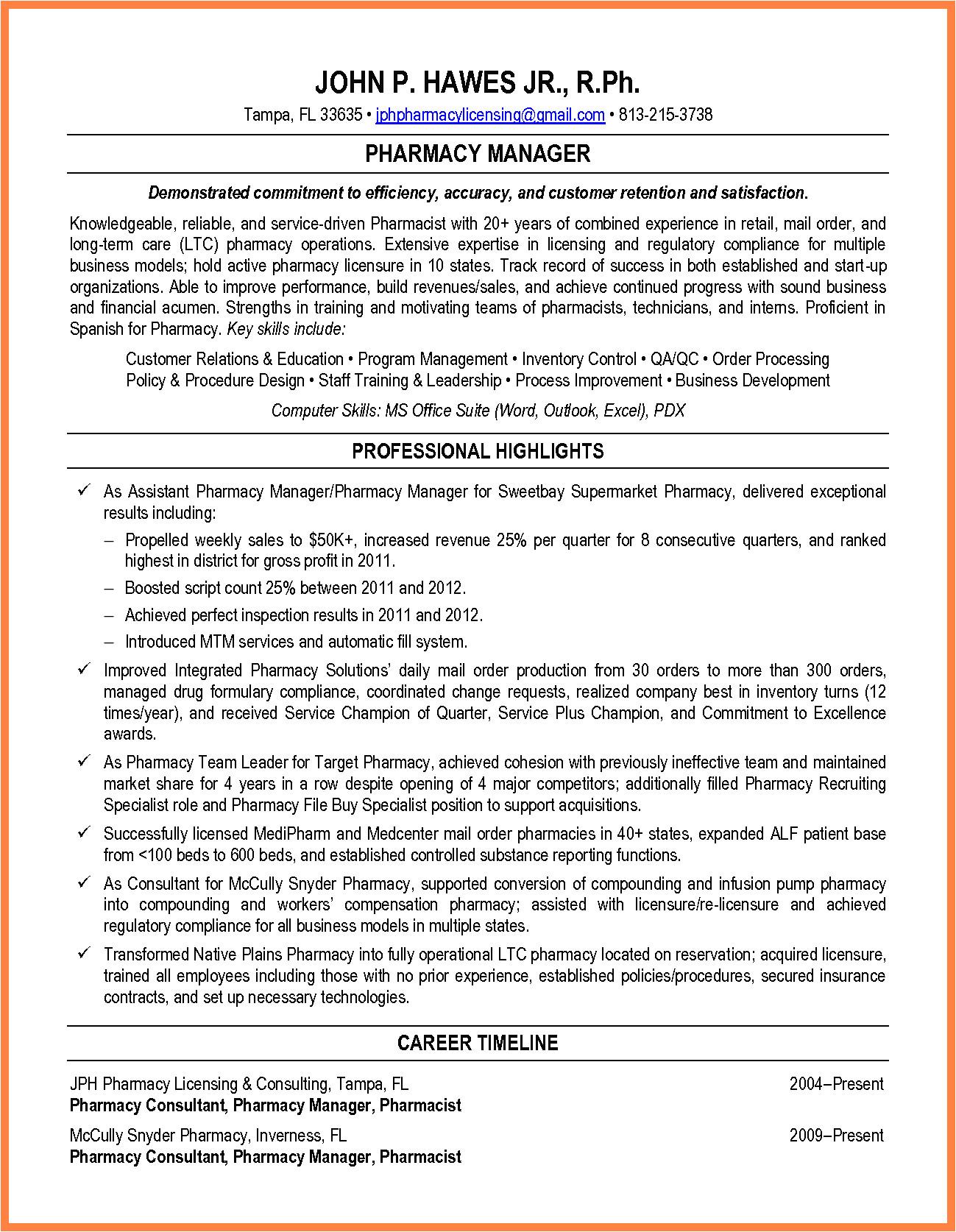 6 resume excel resume for a pharmacist