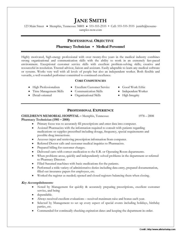 pharmacy technician resume sample for student