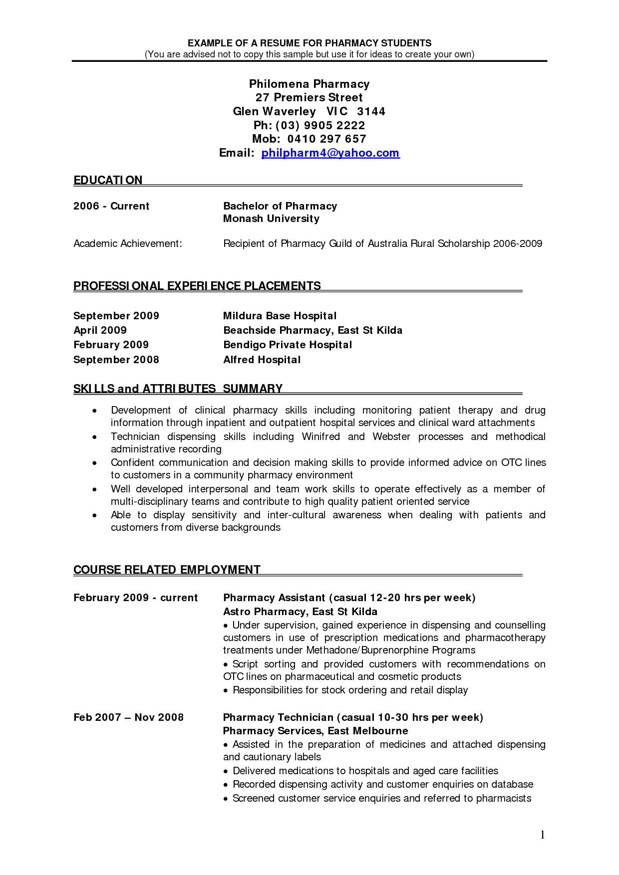 best pharmacist resume sales retail cover letter pharmacy student community resumes