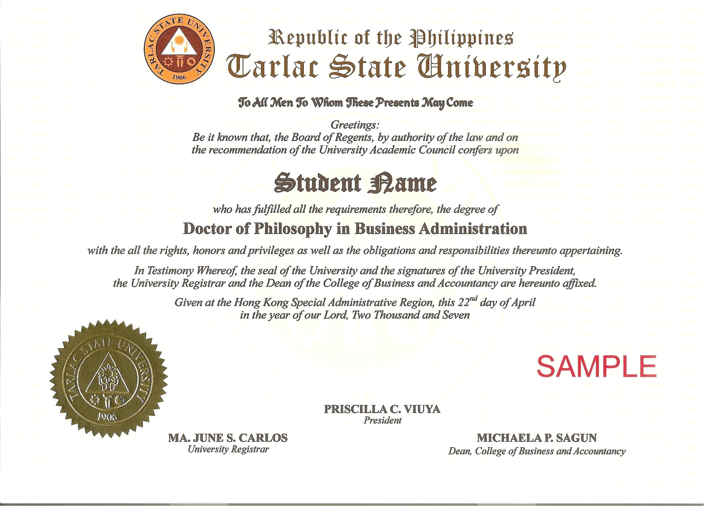 Phd Diploma Template Template Phd Certificate Template