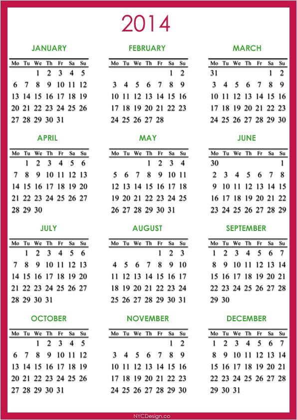 Photo Calendar Template 2014 2014 Calendar Printable Gameshacksfree Photo Calendar 2014