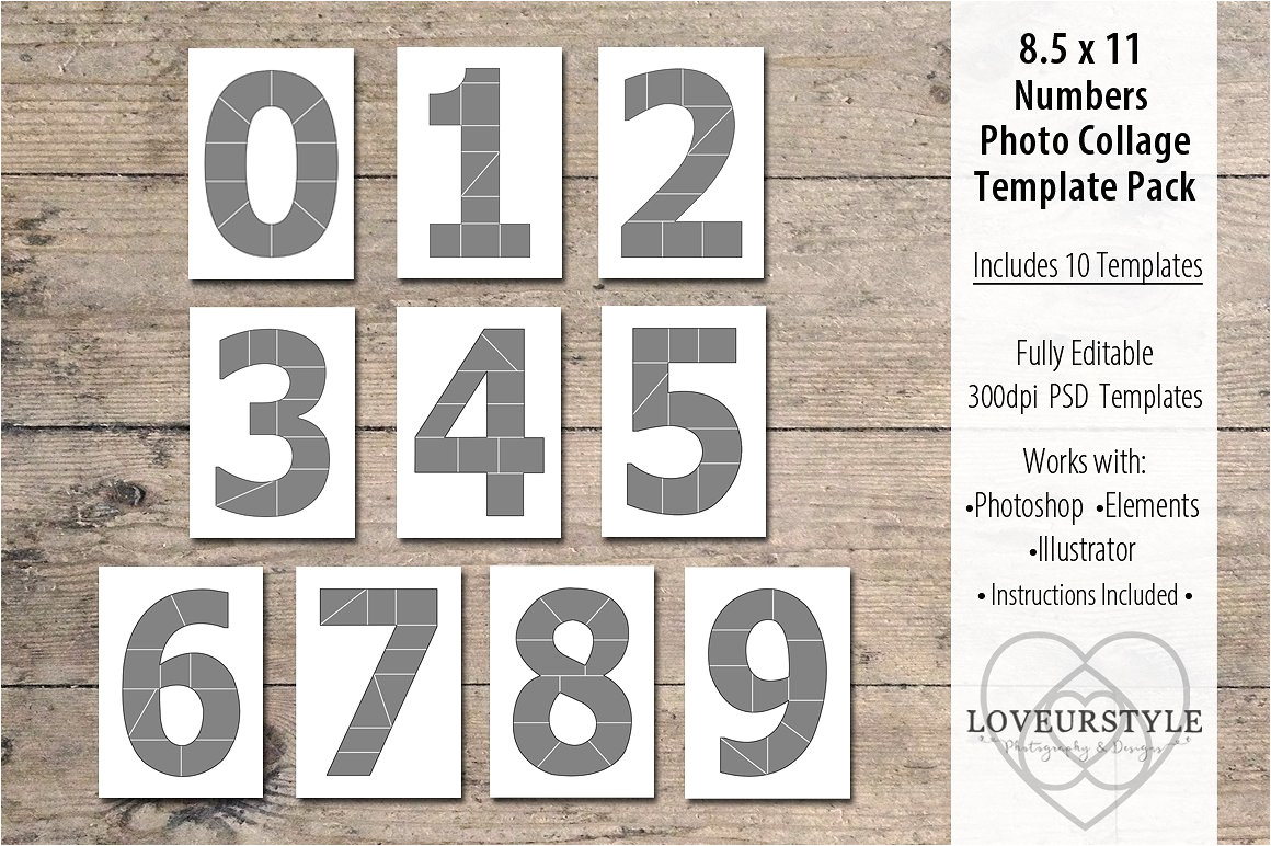 1329994 8 5x11 number photo template pack