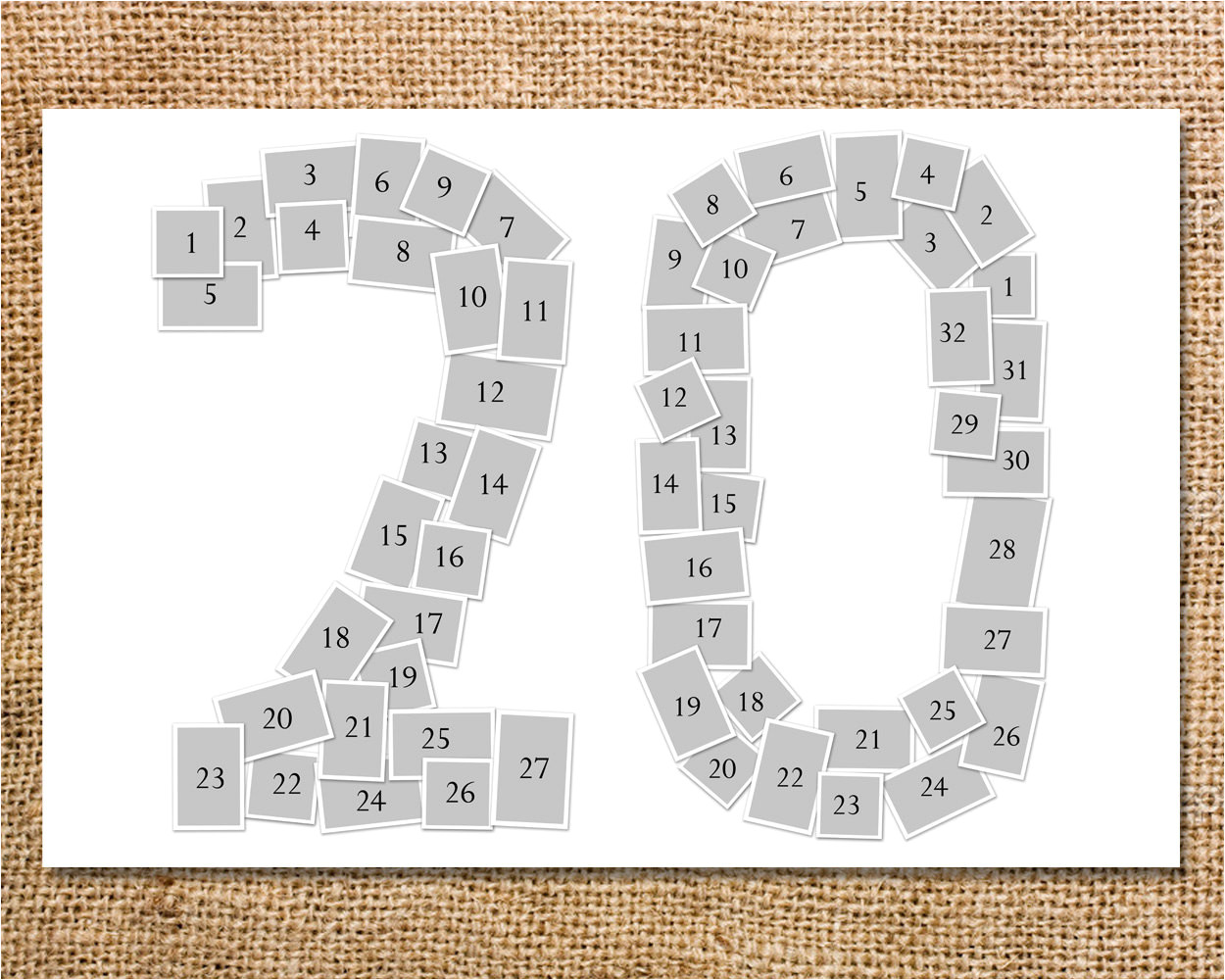 double digit number photo collage
