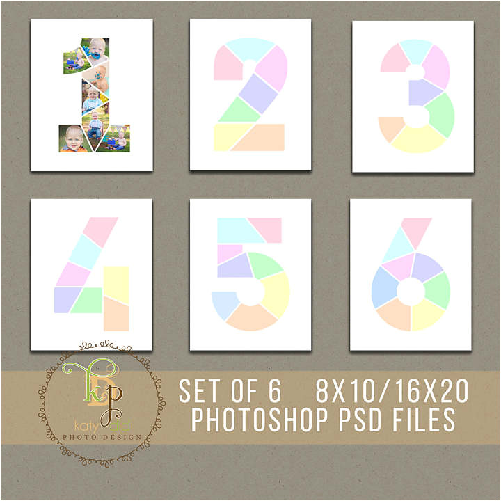 set of 6 year birthday collage templates