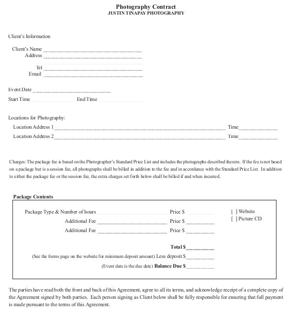 Photographer Contracts Templates 18 Photography Contract Templates Pdf Doc Free
