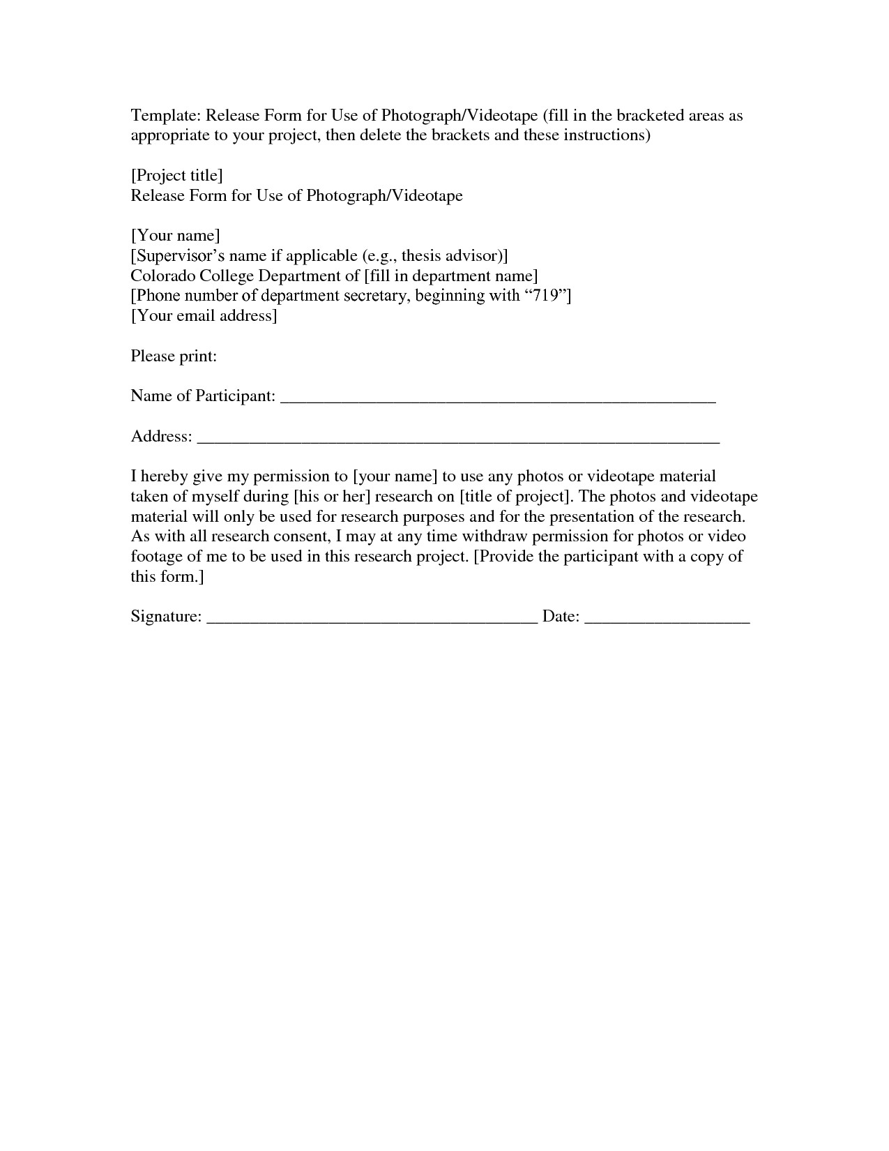 Photographic Release form Template Photo Release form Template Mobawallpaper