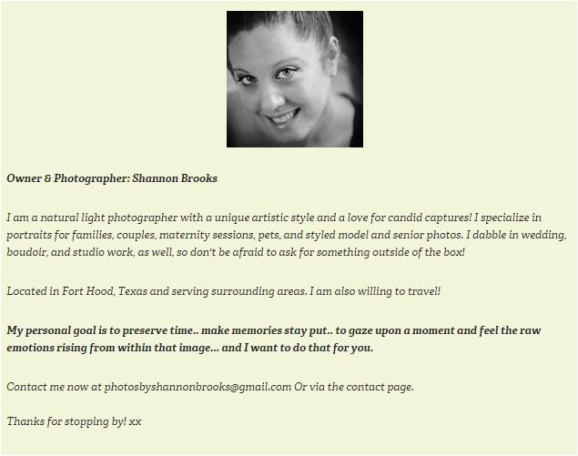 how to write a photographers bio page