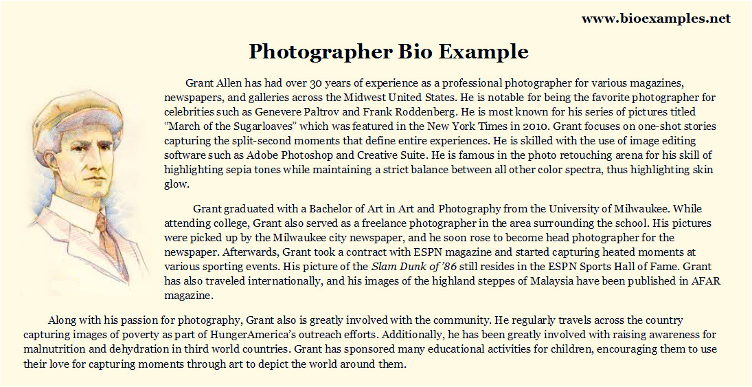 the most creative photographer bio examples