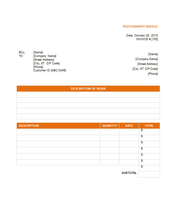 sample photography invoice