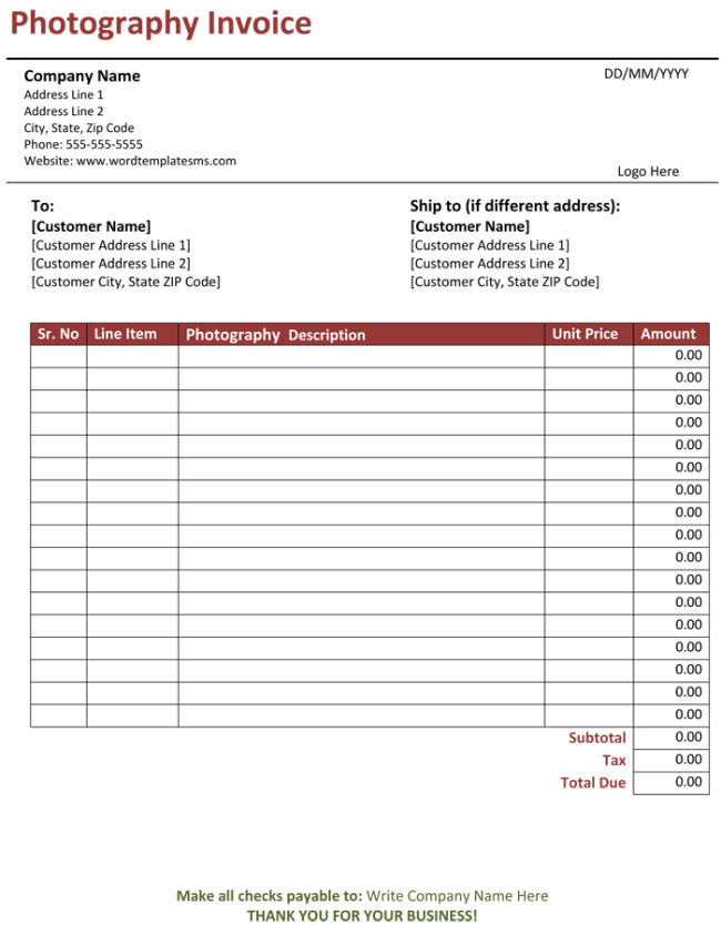 photography invoice template