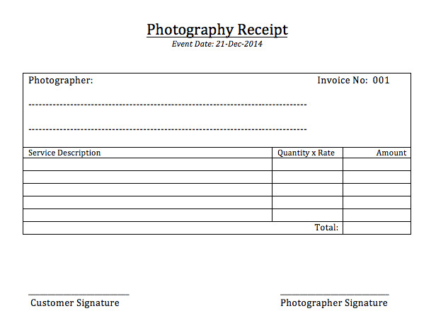 Photography Receipt Template Free Photography Receipt Template Printable Templates