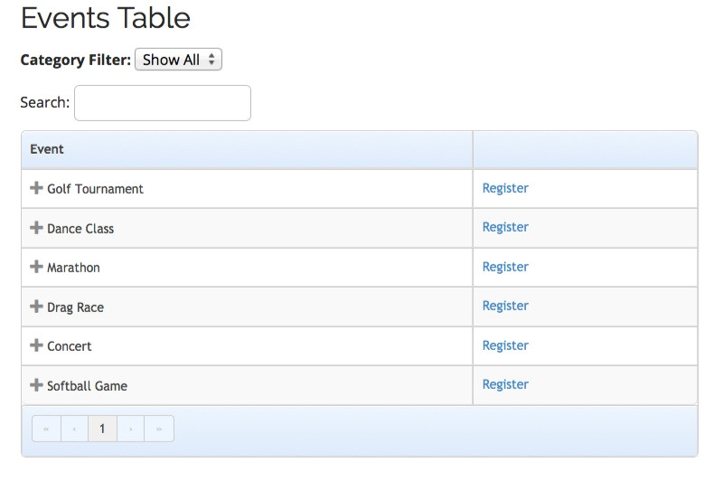 events table view template add on