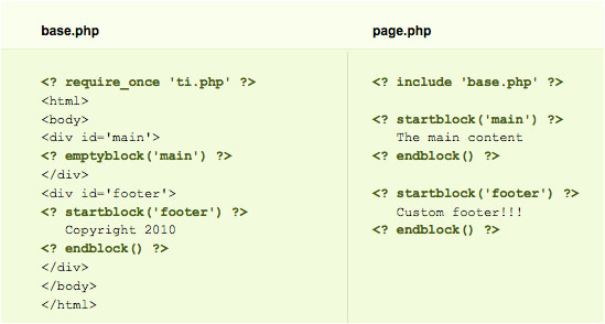 php library template inheritance