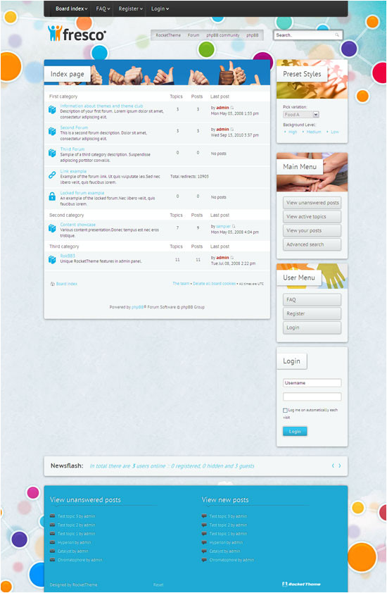 fresco phpbb3 style template for sports travel game social networking or community