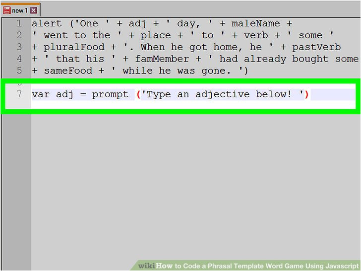 code a phrasal template word game using javascript