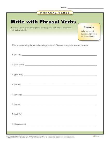 write with phrasal verbs