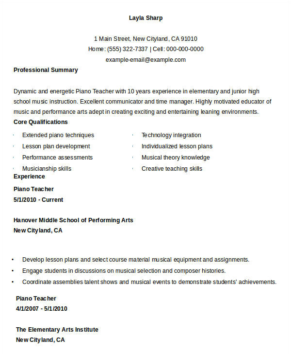 free teacher resume
