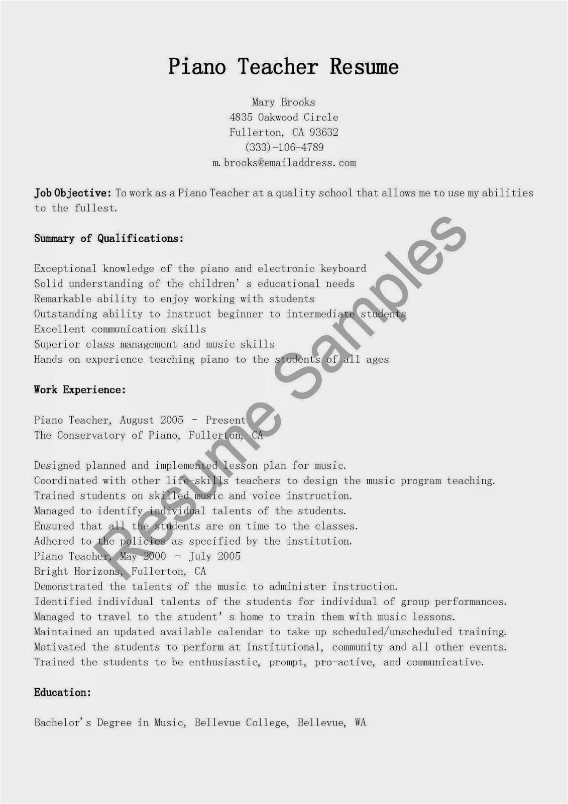 piano teacher resume sample