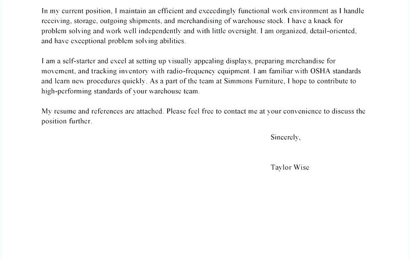 pick packer cover letter