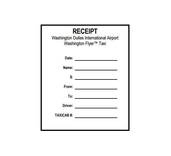 sample taxi receipt template