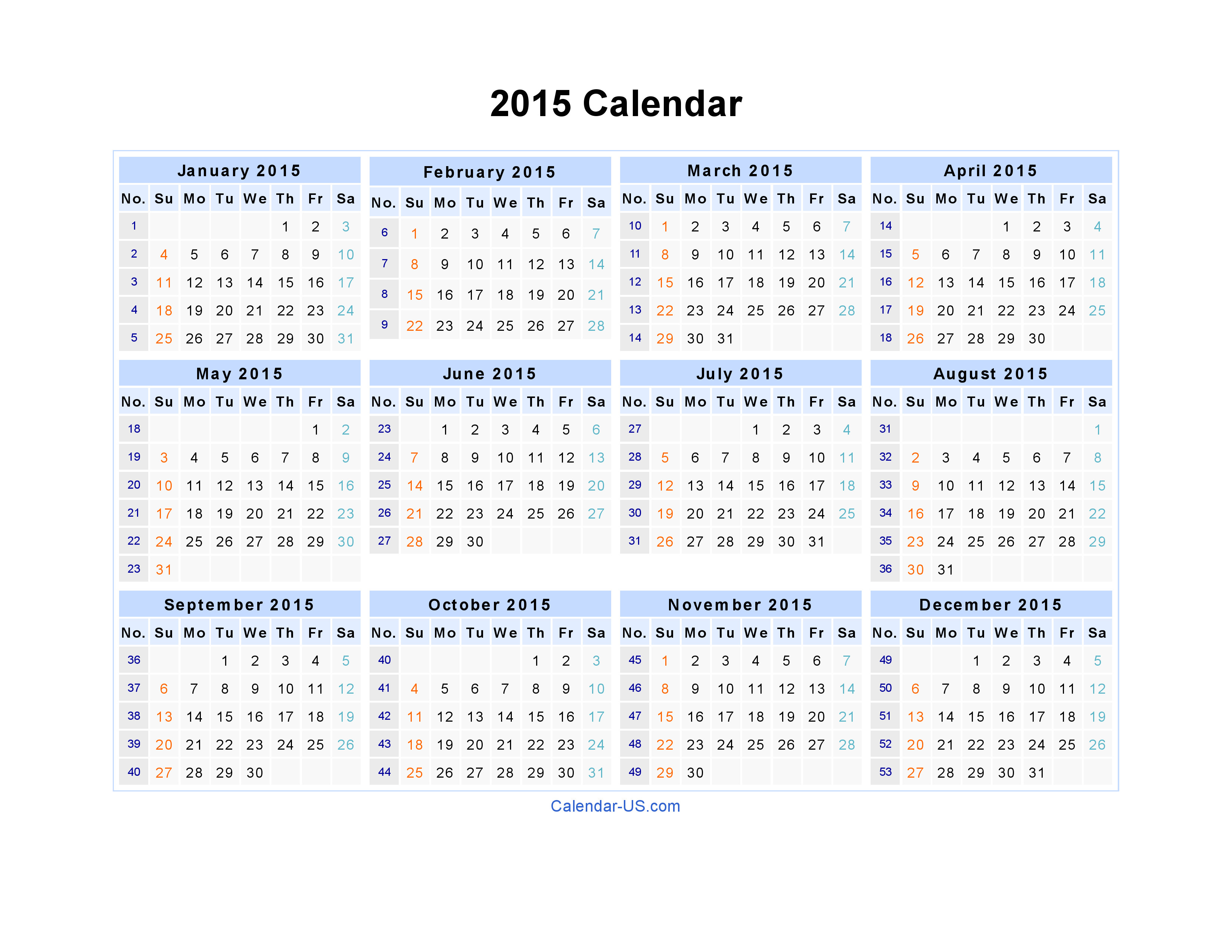 Picture Calendar Template 2015 2015 Printable Yearly Calendar 2017 Printable Calendar