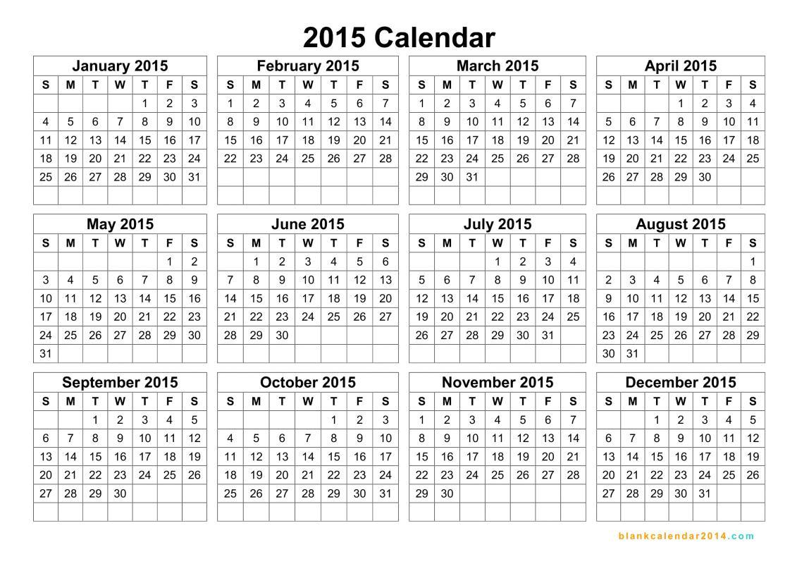 Picture Calendar Template 2015 Printable Calendar 2015 Landscape Printable Calendar