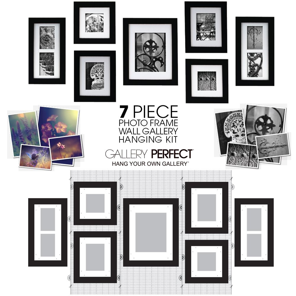 pinnacle frames and accents 7 piece photo frame set black