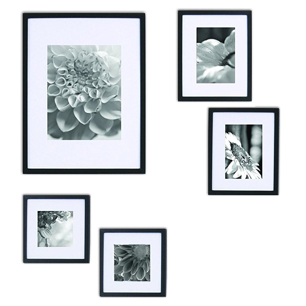 Picture Hanging Template Kit Gallery Perfect 5 Piece Black Wood Photo Frame Wall