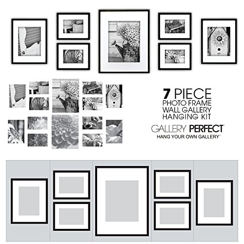 gallery perfect 7 piece black photo frame wall gallery kit 11fw1443 includes frames hanging wall template deco ap b0083gp89g