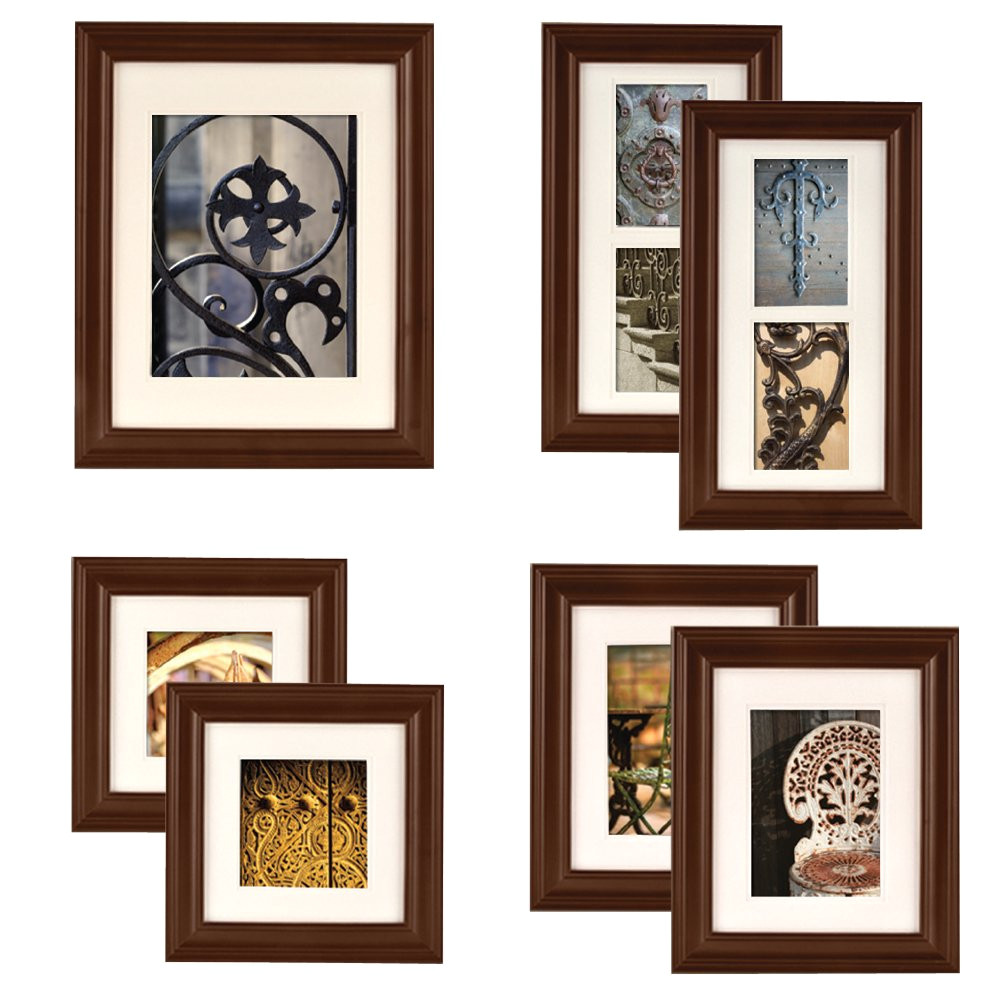 gallery perfect 7 piece walnut wood photo frame wall gallery kit 11fw795 includes frames hanging wall template decorative art prints and hanging hardware b005fwsz32 ie utf8 psc 1