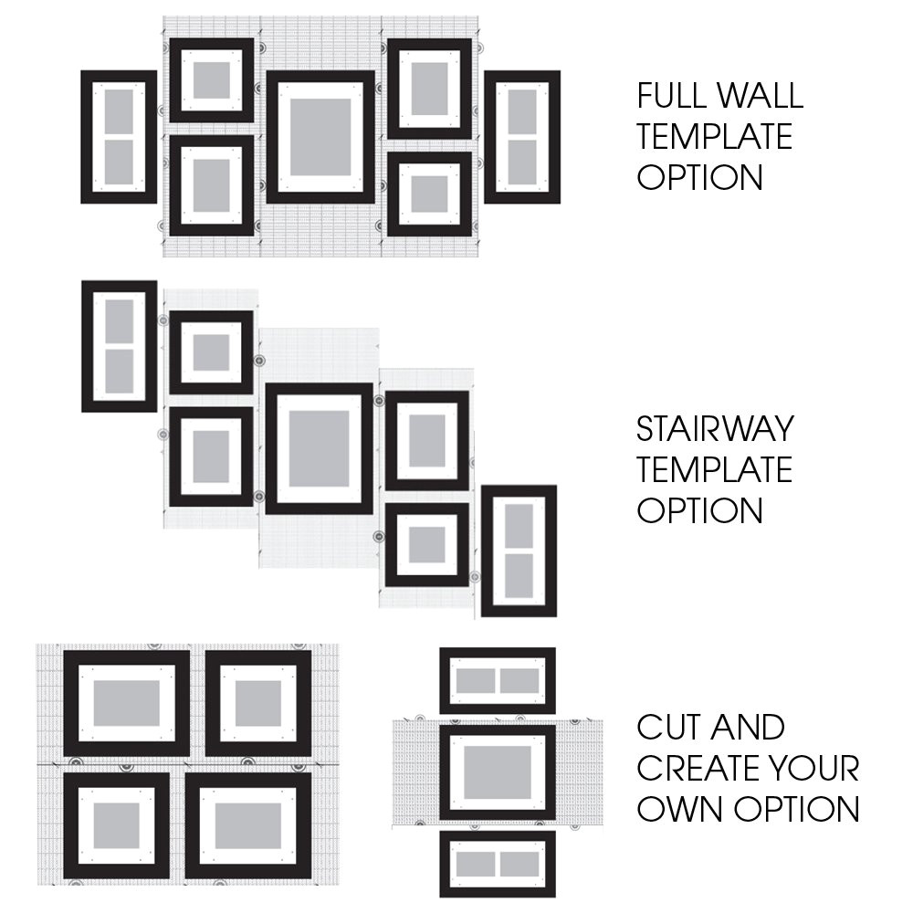 Picture Hanging Template Kit Gallery Perfect 7 Piece White Wood Photo Frame Wall