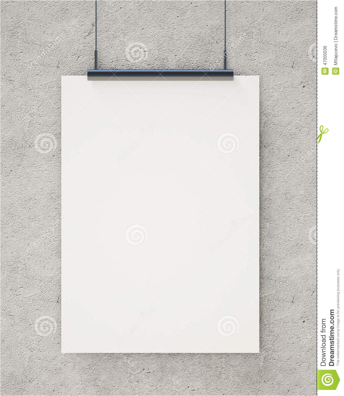 stock illustration mock up blank white hanging poster concrete wall background template design image47000036