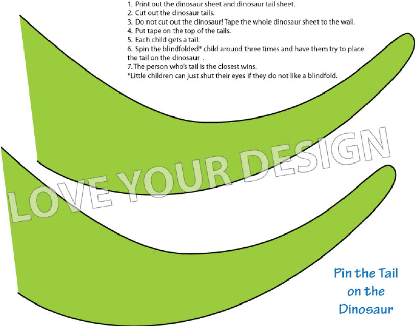 dinosaur game pin the tail on the dinosaur you print instant download