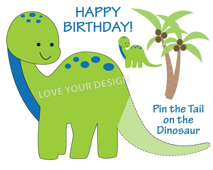 Pin the Tail On the Dinosaur Template Dinosaur Pin the Tail On the Dinosaur Birthday Game You
