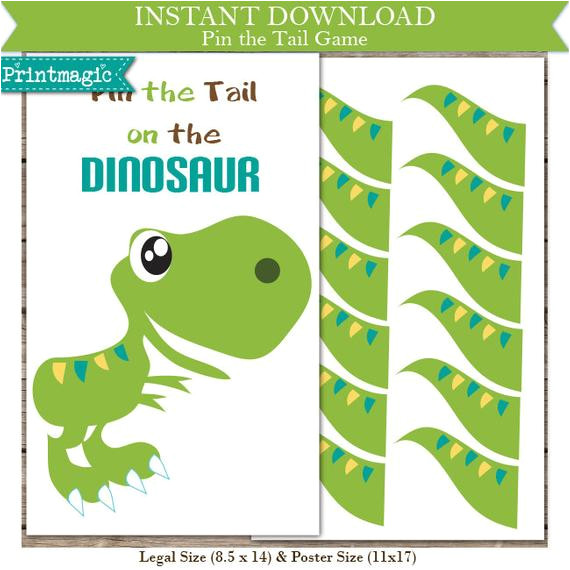 Pin the Tail On the Dinosaur Template Pin the Tail On the Dinosaur Printable Party Game by