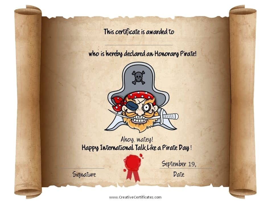 Pirate Certificate Template Free Printable Pirate Certificates for Kids