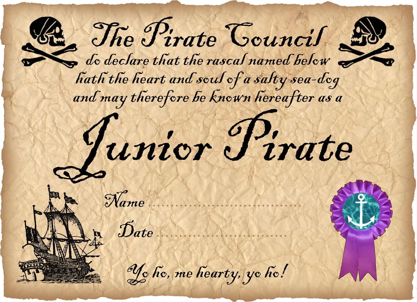 junior pirate certificate