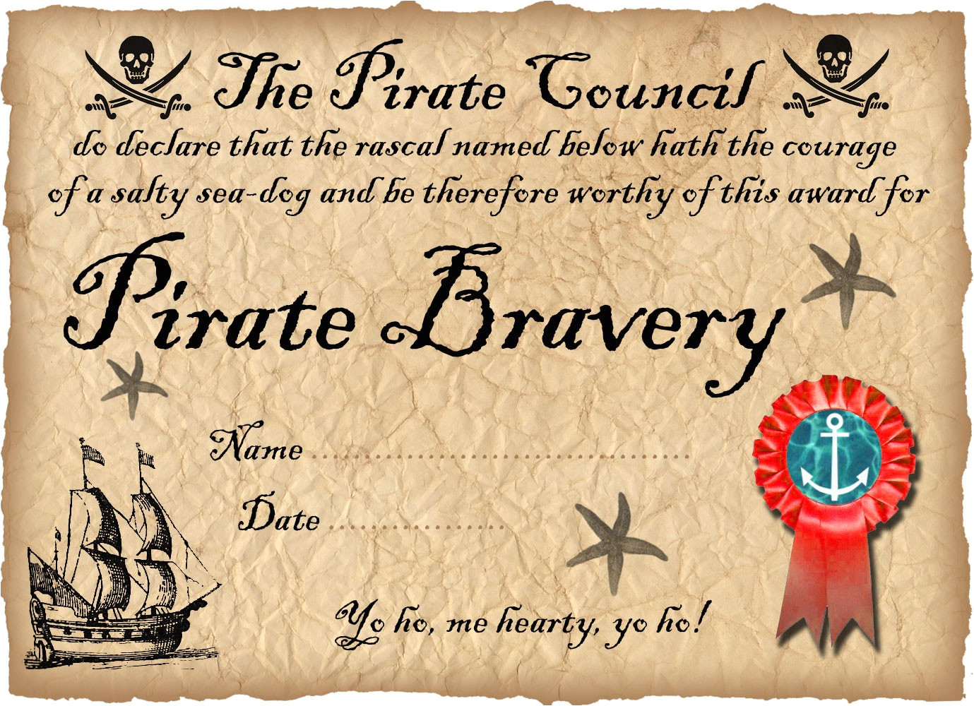 pirate certificate of bravery