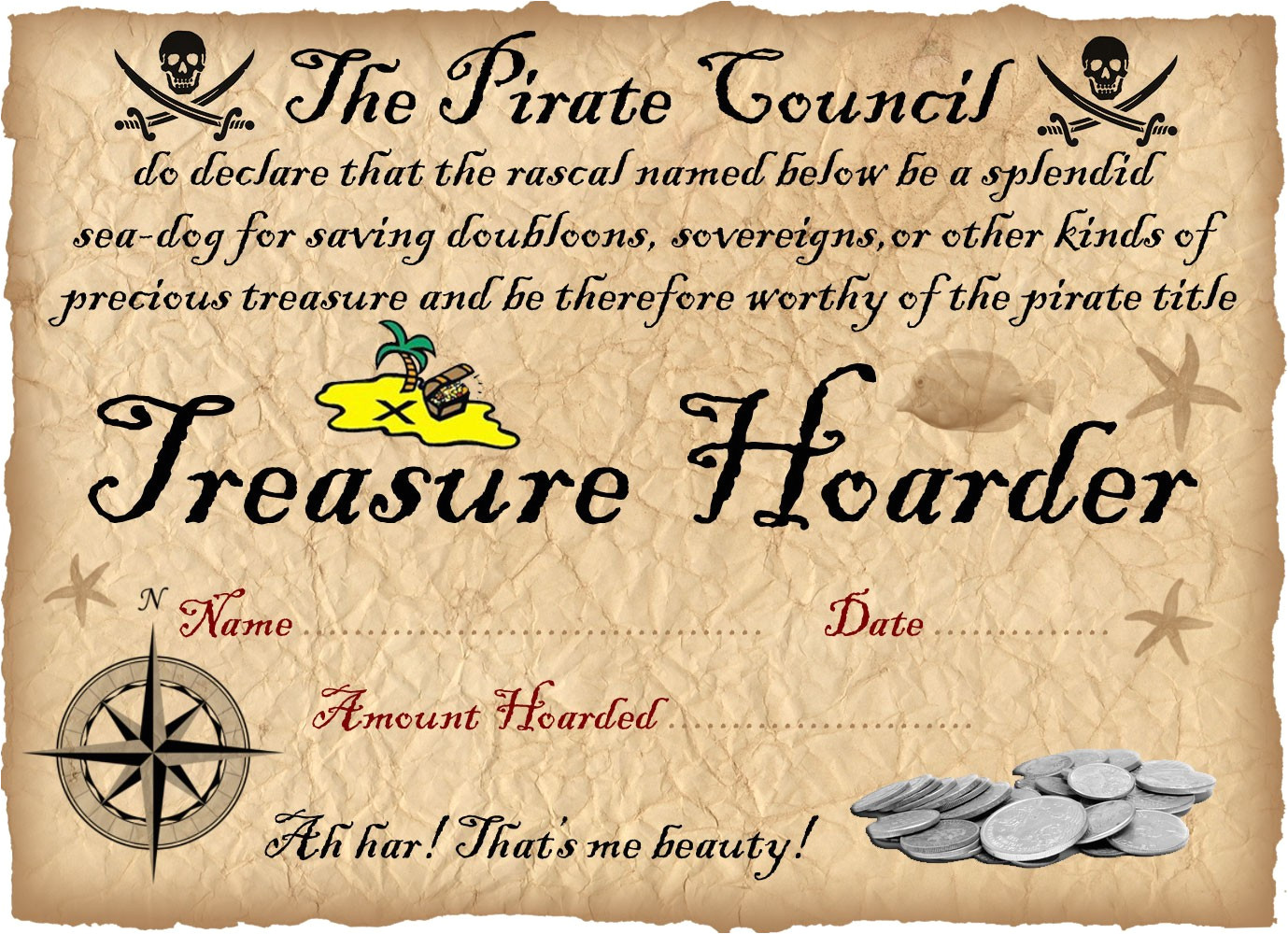 pirate certificate saving your gold