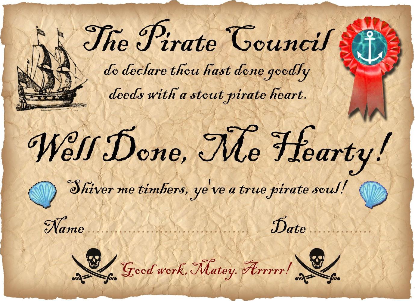pirate certificate well done