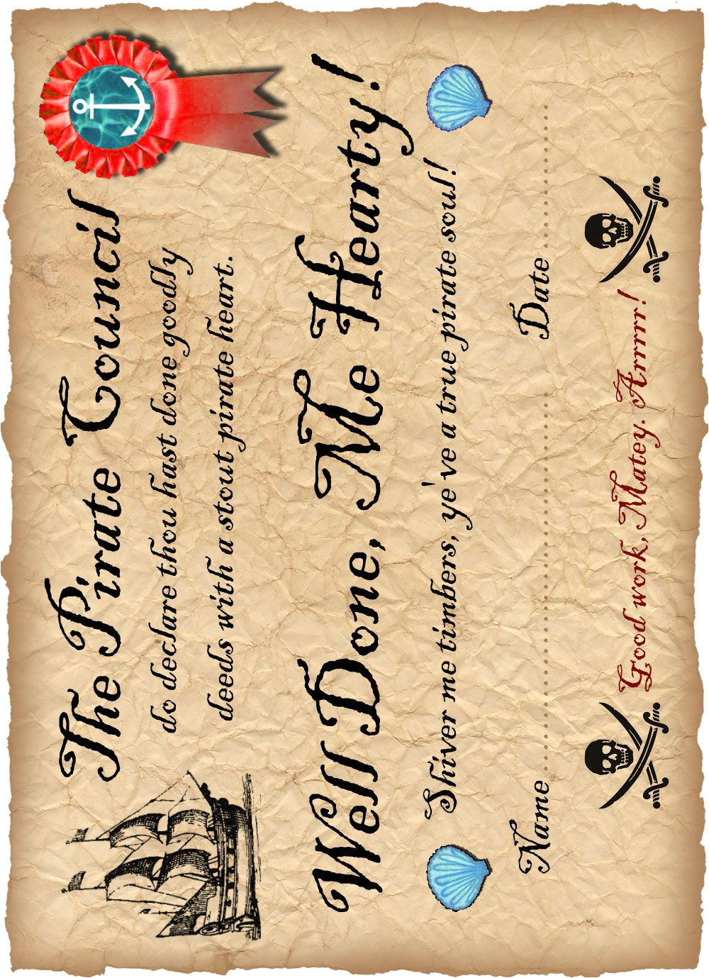 Pirate Certificate Template Printable Pirate Certificate Saying Well Done the Mints