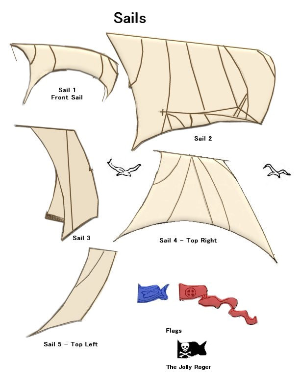 paper craft pirate ship sails
