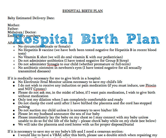 example of hospital birth plan