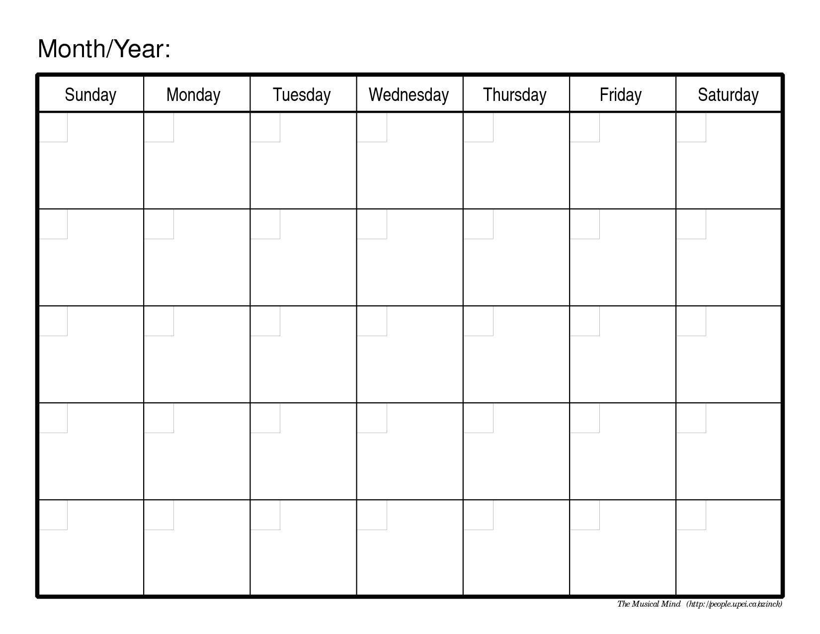 monthly calendar template 526