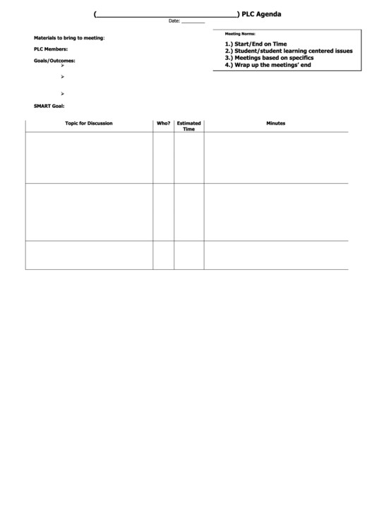 sample plc agenda template